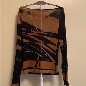 Zara abstract print long sleeve top